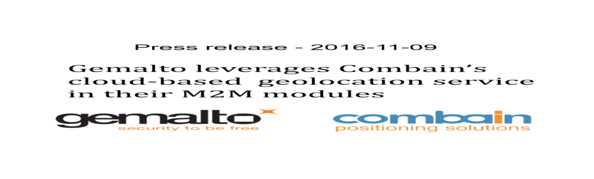 Gemalto leverages Combain's geolocation service in their modules